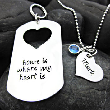 Home Is Where My Heart Is - Couple's Keychain / Necklace Set - Personalized - Name - Birthstone