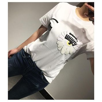 DCCKH3F Chiara Ferragni' White Sunflower Big Eyes Eyelash T-shirt