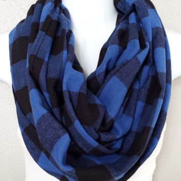 Black & Blue Buffalo Plaid Fall Infinity Scarf Womens Fashion Accessories Girls Blue Circle Scarves Fall Eternity Loop Trending Scarves