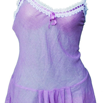 1980 Medium Romper Onesuit Teddy Lingerie Burning Man Designer Purple Polka Dot Sheer Sexy Dior Festival Lace Lavender Pastel Kawaii Rave
