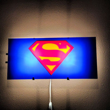 Superman, Man of steel,  Bat Signal light, Gotham Cit, boys room decor, superhero decal, Night light, wall sticker, by Otrengraving on Etsy