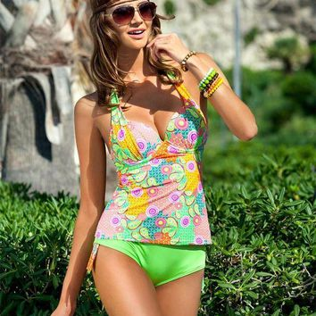 DCCKUH3 Halter Tankini two piece swimwear Women tankini print push up Swimsuit with underwire  D322