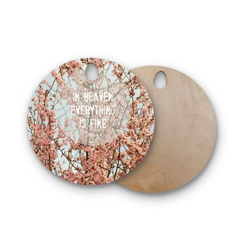 """Robin Dickinson """"In Heaven"""" Cherry Blossom Round Wooden Cutting Board"""
