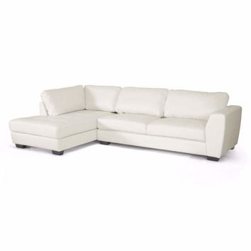 Orland White Leather Modern Sectional Sofa Set with Left Facing Chaise By Baxton Studio
