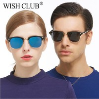 WISH CLUB Fashion Sunglasses Men Women Polarized Mirror Sun Glasses Half Metal Male Sunglasses UV400 gafas oculos de sol