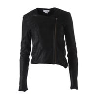 Helmut Lang Womens Leather Double Zipper Motorcycle Jacket