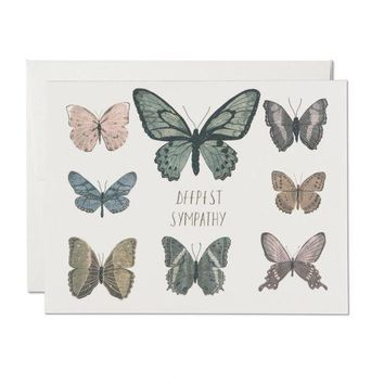 RED CAP CARDS SYMPATHY BUTTERFLIES CARD
