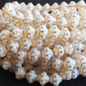 Lot of 25 small 5mm x 6mm saturn or saucer beads, opaque white with gold accents, Czech glass spacer bead C7625