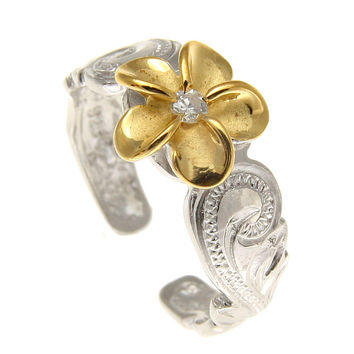 SILVER 925 HAWAIIAN YELLOW GOLD PLUMERIA SCROLL TOE RING CUT OUT EDGE RHODIUM