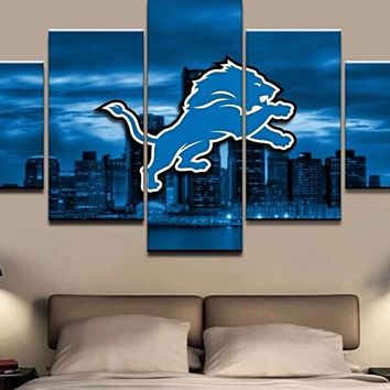 Detroit Lions ManCave 5 Panel Canvas Art