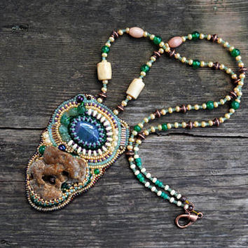 Statement Bead embroidery Necklace Holey stone pendant Earthy hand beaded fairy Necklace Wearable art Sea stone OOAK jewelry piece gift idea