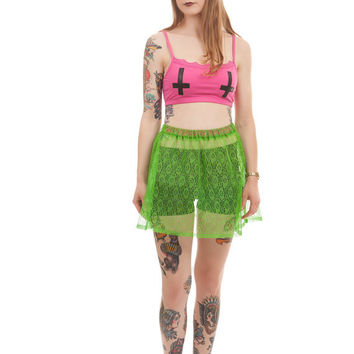 Neon Green Lace Mini Skirt