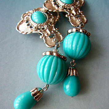 JOSE MARIA BARRERA Long Turquoise Silver Fluted Earrings, Dangle, Clip On, Vintage