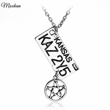 MQCHUN Supernatural Dean License Plate And Star Charm Pendant Necklace Kansas KAZ 2Y5 Link Chain Necklace Vintage Silver Color