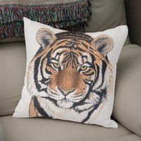 «Tiger portrait watercolor», Numbered Edition Coussin by Savousepate - From 25€ - Curioos