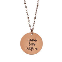 Hip To Be Me Copper 'Teach, Love, Inspire' Pendant Necklace | zulily