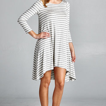 Heather Gray and White Striped Tunic Dress