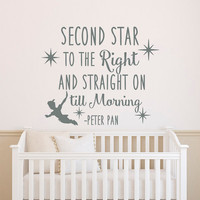 Peter Pan Quote Wall Decal Second Star To The Right And Straight On Till Morning Wall Decals Nursery- Wall Decal Kids Boys Room Decor Q243
