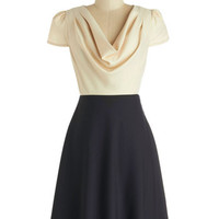 Louche Vintage Inspired Mid-length Cap Sleeves A-line Gondola Engagement Dress in Cream and Navy