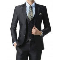 Doublju Men's 2 Button Suit Blazer Jacket Darknavy (KMOBL026)