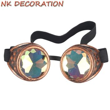 NK DECORATION New Sell Vintage Colorful Lens Eyewear Steampunk Kaleidoscope Goggles Glasses Welding Gothic Cosplay Goggles