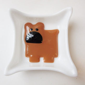 French Bulldog Trinket Dish, Fused Glass Dish, Glass Dog Dish, Frenchie Lover Catchall Dish, Dog Lover Catch All Tray, Dog Lover Gift