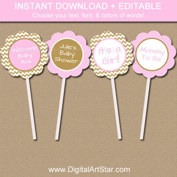 Chevron Baby Shower Cupcake Toppers - INSTANT DOWNLOAD & EDITABLE - Modern Pink Gold Printable Cupcake Picks - Bridal Shower, Birthday