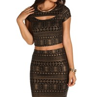 Promo-gold Tribal Crop Top