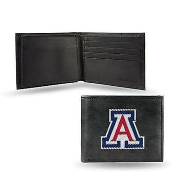 DCCKIHN Arizona Wildcats Wallet Premium Black LEATHER BillFold Embroidered University of