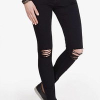 Distressed Black Mid Rise Jean Legging from EXPRESS