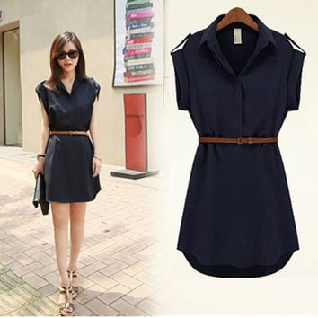 Womens Summer Dress New Arrival Unique Design Dresses vestidos Short Sleeves Chiffon Dress With Belt
