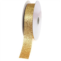 Glitter Ribbon Christmas Giftwrapping, 7/8-inch, 25-yard, Gold