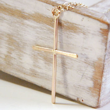Gold filled cross necklace, dainty gold cross necklace, cross jewelry, skinny cross pendant