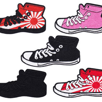 Vintage Style High Hi Top Basketball Star Sneaker Shoe Patch Badge (10cm) All 5 Colors Available Inside