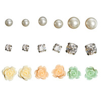Pearl Rhinestone Flower Earring Set