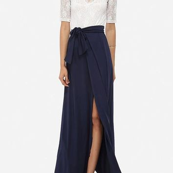 White Navy blue Patchwork Lace Sashes Draped V-neck Front Slit Party Maxi Dress