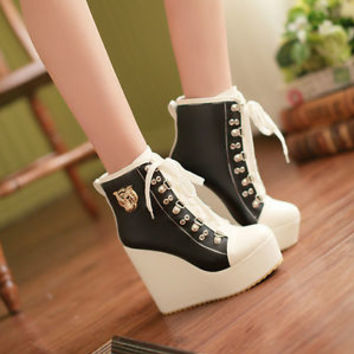 Women Fashion Wedge Heels Platform High Top Lace Up Metal Decro Shoes Ankle Boot