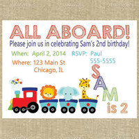Printed Train Birthday Invitations- printed invitations, custom birthday, kids birthday party, train party invite, transportation party