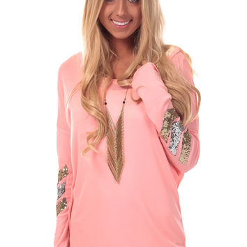 Blush Knit Top with Sequin Elbow Detail