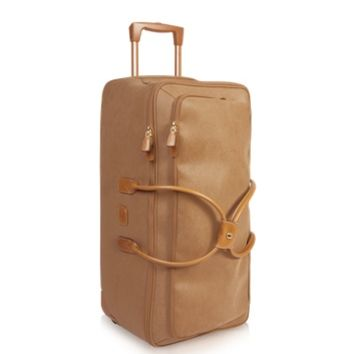 Bric's Designer Travel Bags Life - Large Camel Micro Suede Rolling Duffle Bag