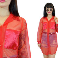 vintage 90s SHEER red blouse satin pockets NYLON long ultra draped top grunge shirt club kidd new wave minimalist avant garde romantic S