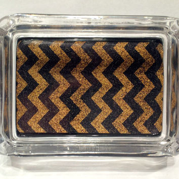 Black and Gold Glitter Chevron Stripe Square Designer Glass Ashtray