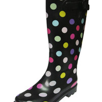 "Womens 12"" Rubber Waterproof Rain Boots [ Black Polkadot ]"