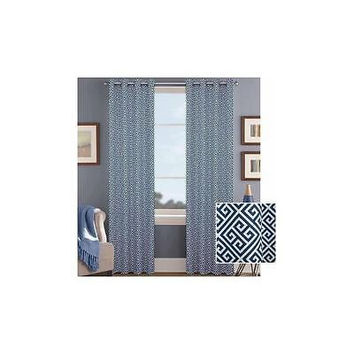 "Bh&G Greek Indigo Key Printed Window Curtain With Grommets 52"" X 95"""