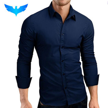 QINGYU Mens Shirt Brand 2017 Male Long Sleeve Shirts Casual Hit Color Slim Fit Solid Color Men Dress Shirts XXXL MA92