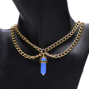 Natural Gemstone Double Chain Necklace