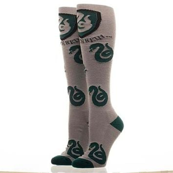 Harry Potter Slytherin Gray Knee High Socks