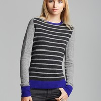 Quotation Sweater - Striped Zip Back Cashmere