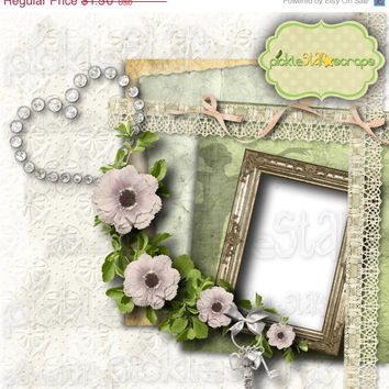 ON SALE Elegance Digital Scrapbook QUICKPAGE Layout Pre-Made Quickpage Pre-Made Layouts Elegant Page Elegant Quickpage Classic Page Instant