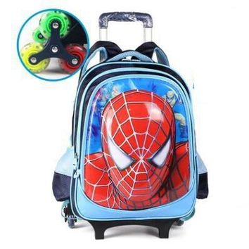 Kids Rolling Spider Man Trolley Backpack Luggage